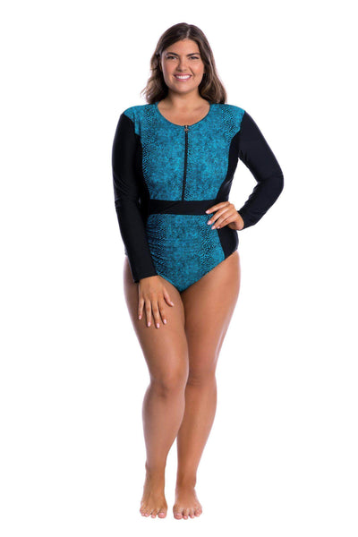 Turquoise Snake | High Neck Slimming Swimsuits