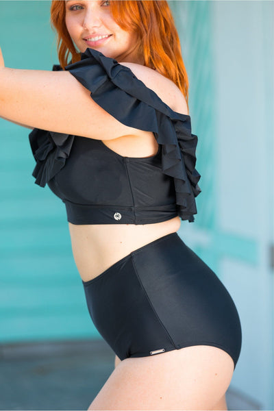 Plain Black High Waisted Pant Bottom