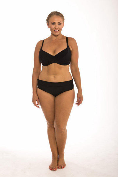 Plain Black Plus Size Rollover Pant Bottom
