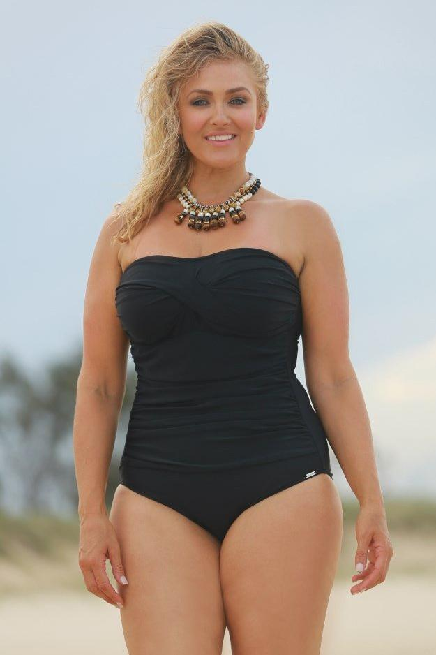 Plain Black Twist Front Bandeau One Piece