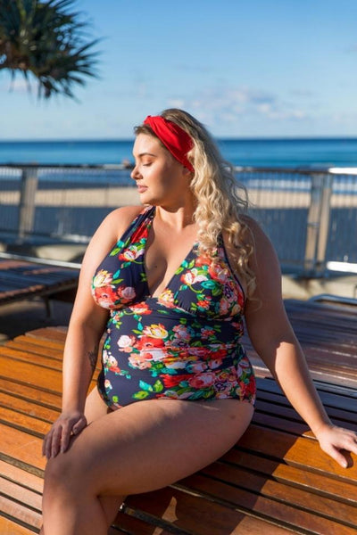 one piece plunge swimsuit plus size