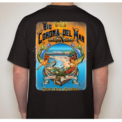 -NPB Tee -   Big Corona - Newport Beach T Shirt in Black, by Rick Rietveld
