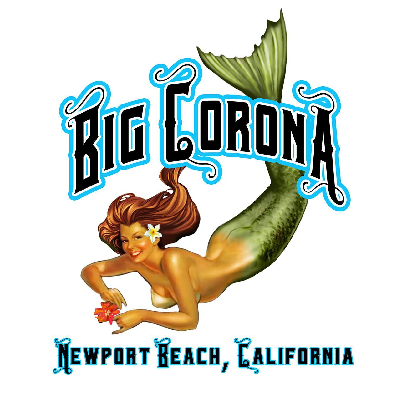 -NPB Tee -   Big Corona - Long Sleeve Newport Beach T Shirt in White, by Rick Rietveld