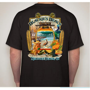 -NPB Tee -   Blackie's Beach - Newport Beach T Shirt in Black, by Rick Rietveld