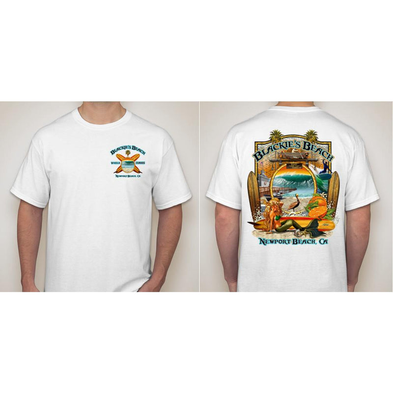 -NPB Tee -   Blackie's Beach - Newport Beach T Shirt in White, by Rick Rietveld
