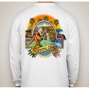 -NPB Tee -   Crystal Cove - Long Sleeve Newport Beach T Shirt/White, by Rick Rietveld