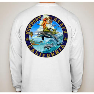 -NPB Tee -   Dolphin Surfing- Long Sleeve Newport Beach T Shirt, by Rick Rietveld