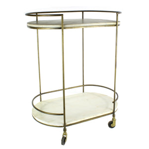 NS Gibson Bar Cart - Antique Brass with White Wood