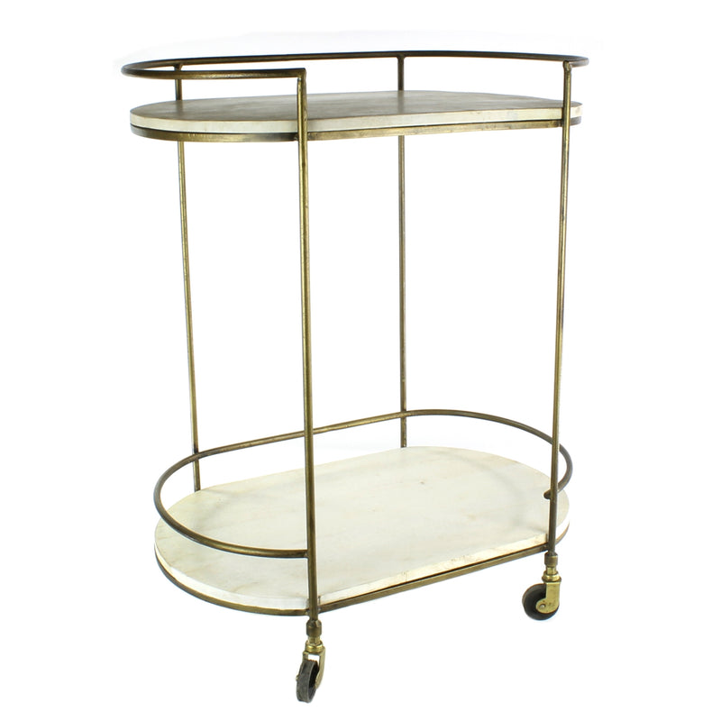 NS Bar Cart - Antique Brass with White Wood