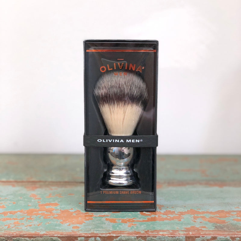 D ・Olivina Shave Brush - Chrome Handle