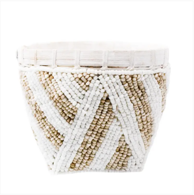 D Bamboo beaded trinket basket