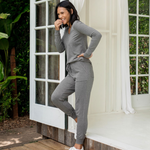 D Barefoot Dreams Lux Lounge Scrunch Hoodie - heather grey