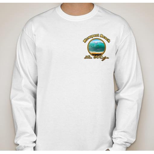 - NPB Tee - The Wedge  - Long Sleeve Newport Beach T Shirt in White, by Rick Rietveld
