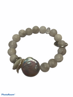 CC- Studio SUZAN 10mm matte stone Agate with Pearl accent bracelet