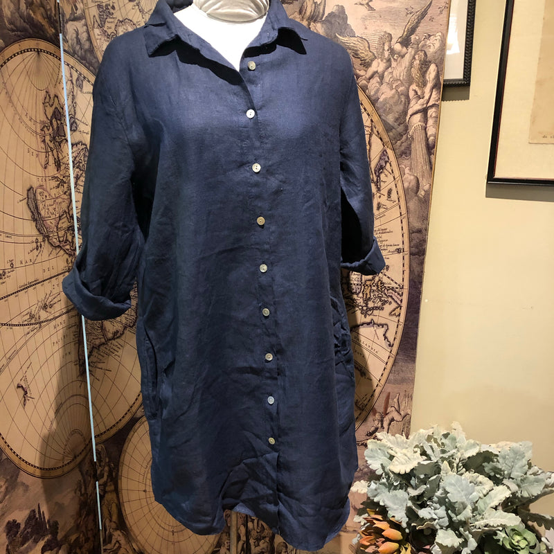 CC- Linen tunic with Mop buttons and pockets