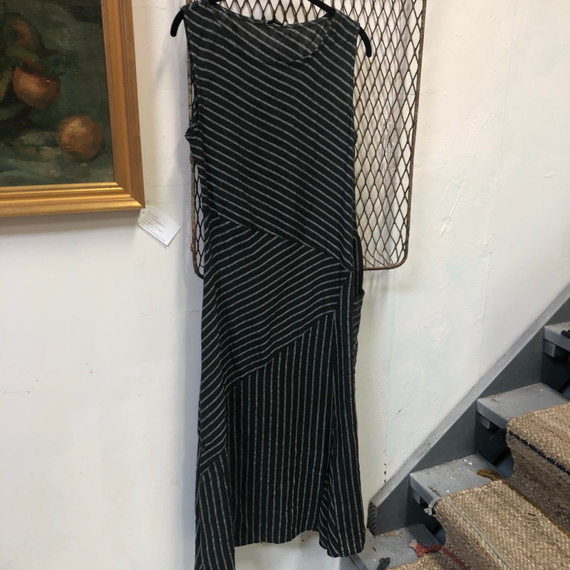CC- linen bias cut stripe dress