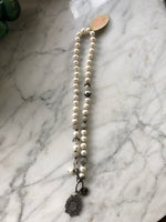 CC- LOVE HEALS PEARLS, LABRADORITE and STERLING NECKLACE