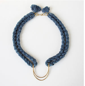 TL-JSS Brass braided necklace