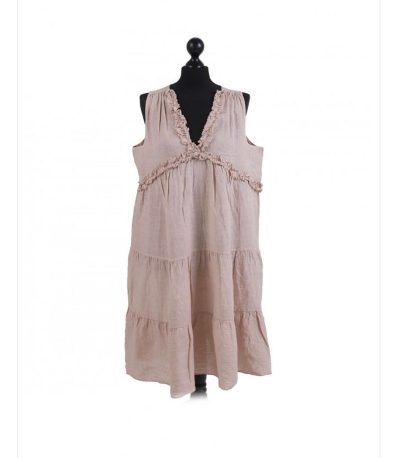 CC- Linen short tiered tank dress