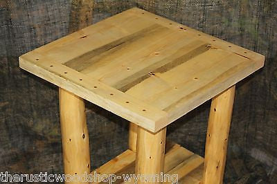 Rustic Log (Breadboard Top) End Table / Nightstand - Cabin, Lodge Log Furniture - Free Shipping