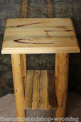 Rustic Log (Traditional Top) End Table/Night Stand - Cabin, Lodge Log Furniture - Free Shipping