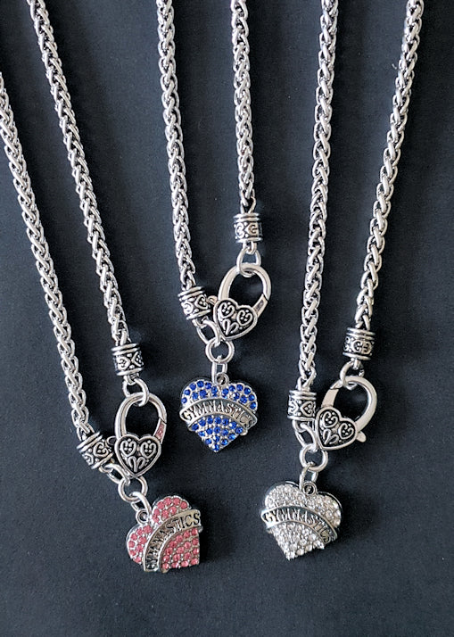 Gymnast Necklace Crystal Heart