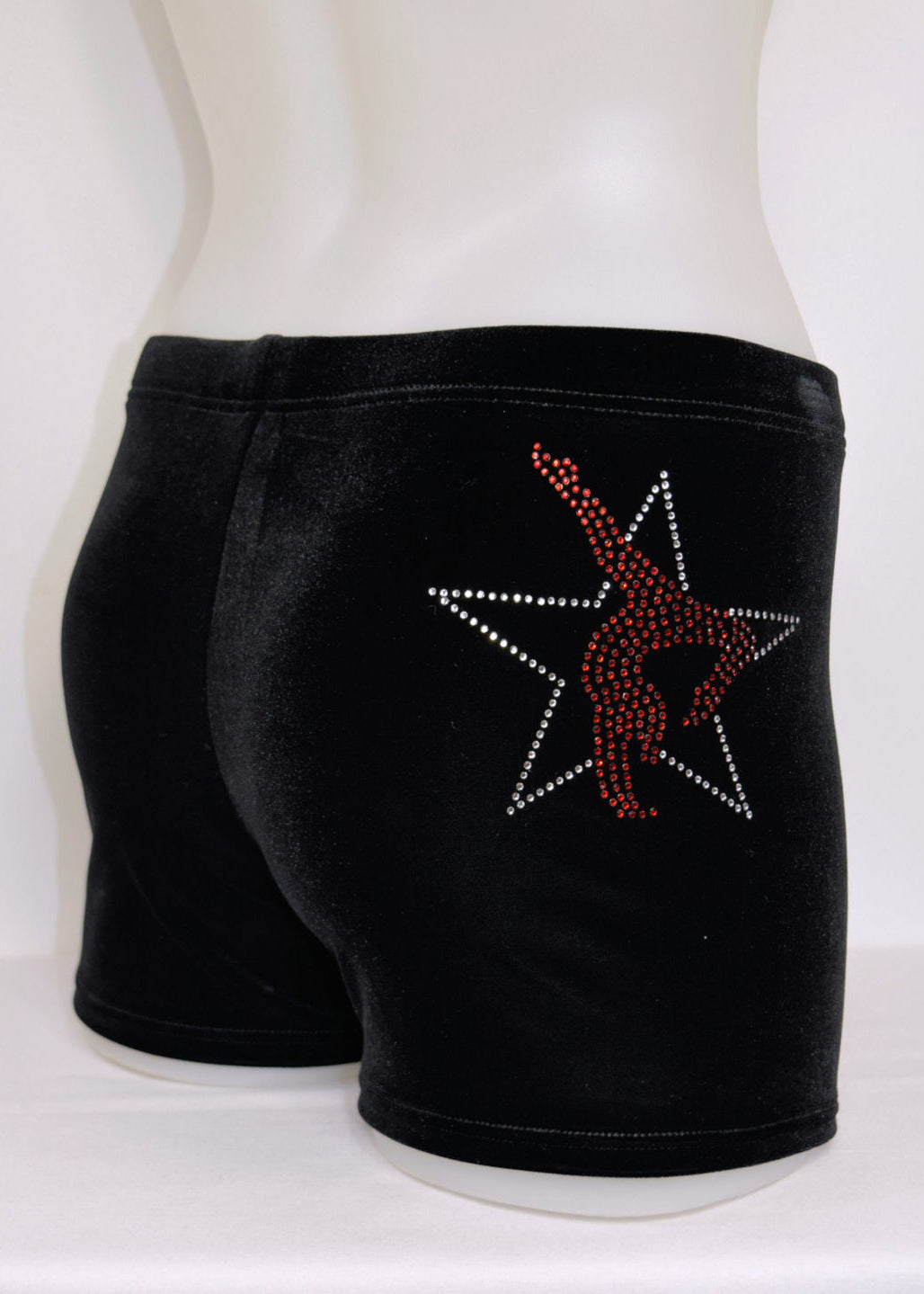 RS Gymwear Australia. Star Gymnast shorts. Velvet shorts with motif. Dance shorts. Gymnastics shorts.