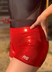 RS Gymwear Australia. RSG-068 Red Shorts. Dance Shorts. Gymnastics Shorts.