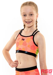 RS Gymwear Australia, Neon Power Crop Top, Crossover back crop top, RSG-314
