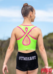 RS Gymwear Australia. RSG-324 Lotus Lime Crop Top. Neon Lime.