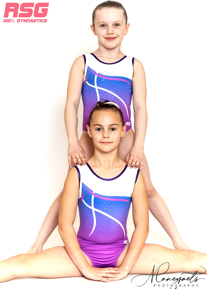 "RS Gymwear, Australia Sleeveless leotard, ""Saskia"" Purple, RSG-432"