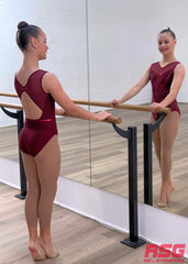 RSG-483 Elegance Burgundy. RS Gymwear Australia sleeveless leotard. Dance leotard.