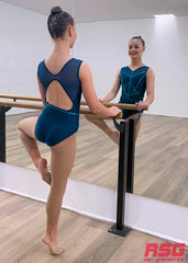 RS Gymwear Australia. RSG-484 Elegance Emerald sleeveless leotard. Dance leotard.