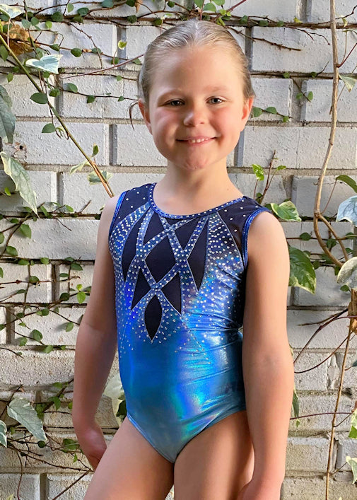 RSG-487 Sleeveless Leotard - Olena Ombre Blue