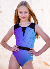 RS Gymwear Australia. Purple & Blue Ombre leotard. Isla Leotard. RSG-600. Front