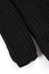 V-Neck Knitted Sweater (Black)