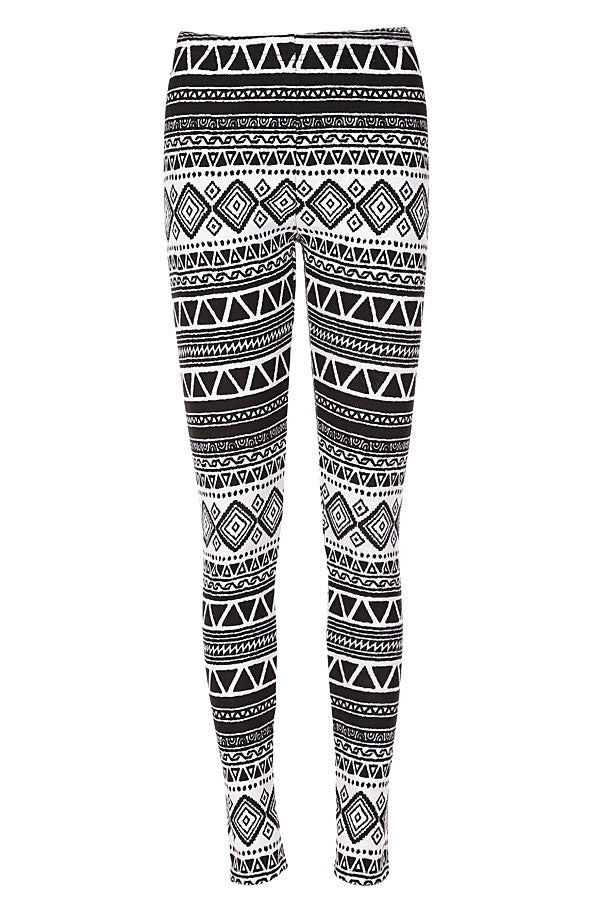 Monochrome Tribal Fleece Leggings