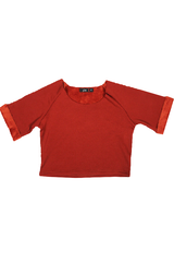 APRICOT FLEECE CROPPED TOP