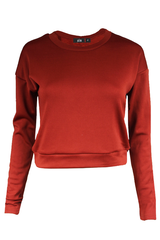 APRICOT ROUNDNECK FLEECE SWEATER