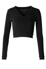 V-Neck Fleece Crop Sweater