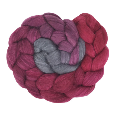 Fine Merino and Silk Sliver - Berry Muffin Gradient