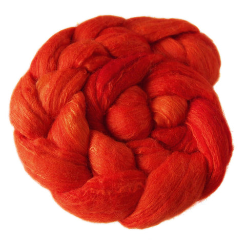 Merino and Silk Sliver  - Autumn Red
