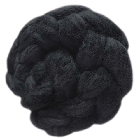 Merino and Silk Sliver  - Charcoal