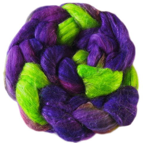 Sock Blend Sliver - Violet and Lime