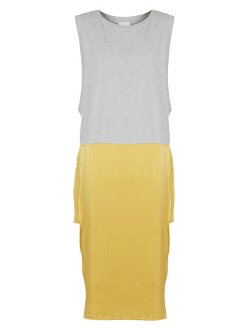 HIDEAWAY TANK DRESS – GREY MARLE / TUMERIC