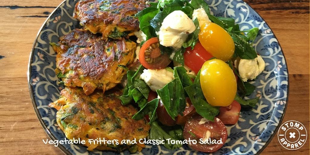 Vegetable Fritters and Classic Tomato Salad