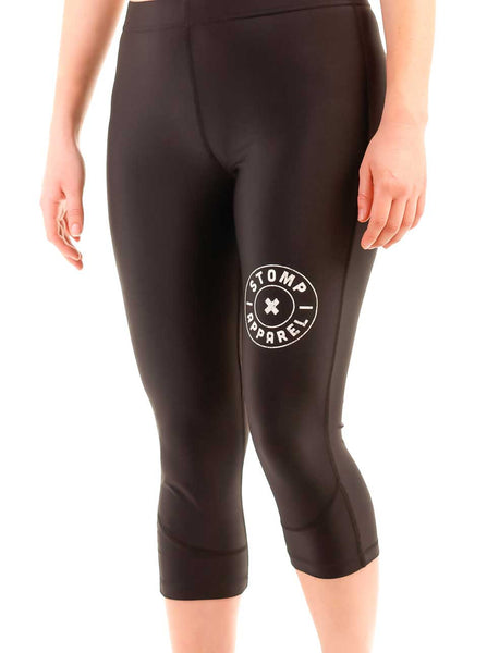 Women's Lite Compression Mid Length Front Black Modelled