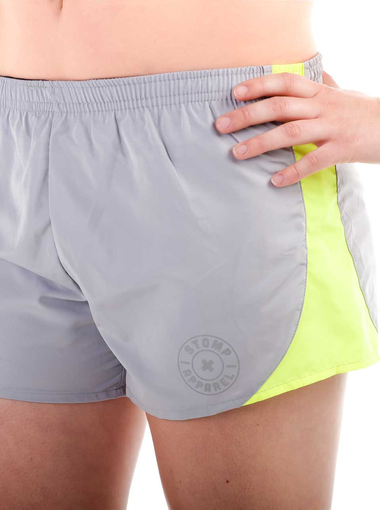Women's Athletic Shorts Front Grey Modelled