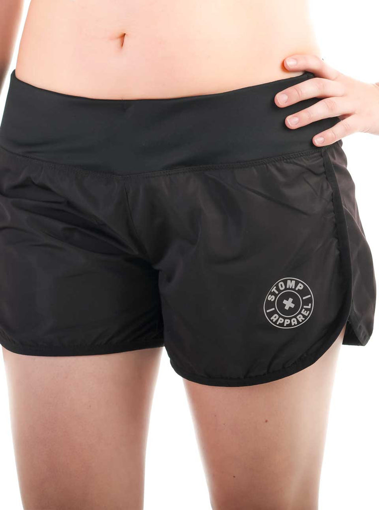 Women's Fitted Shorts Front Black Modelled
