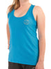 Womens Sports Shoulder Strap Singlet Front Blue Modelled